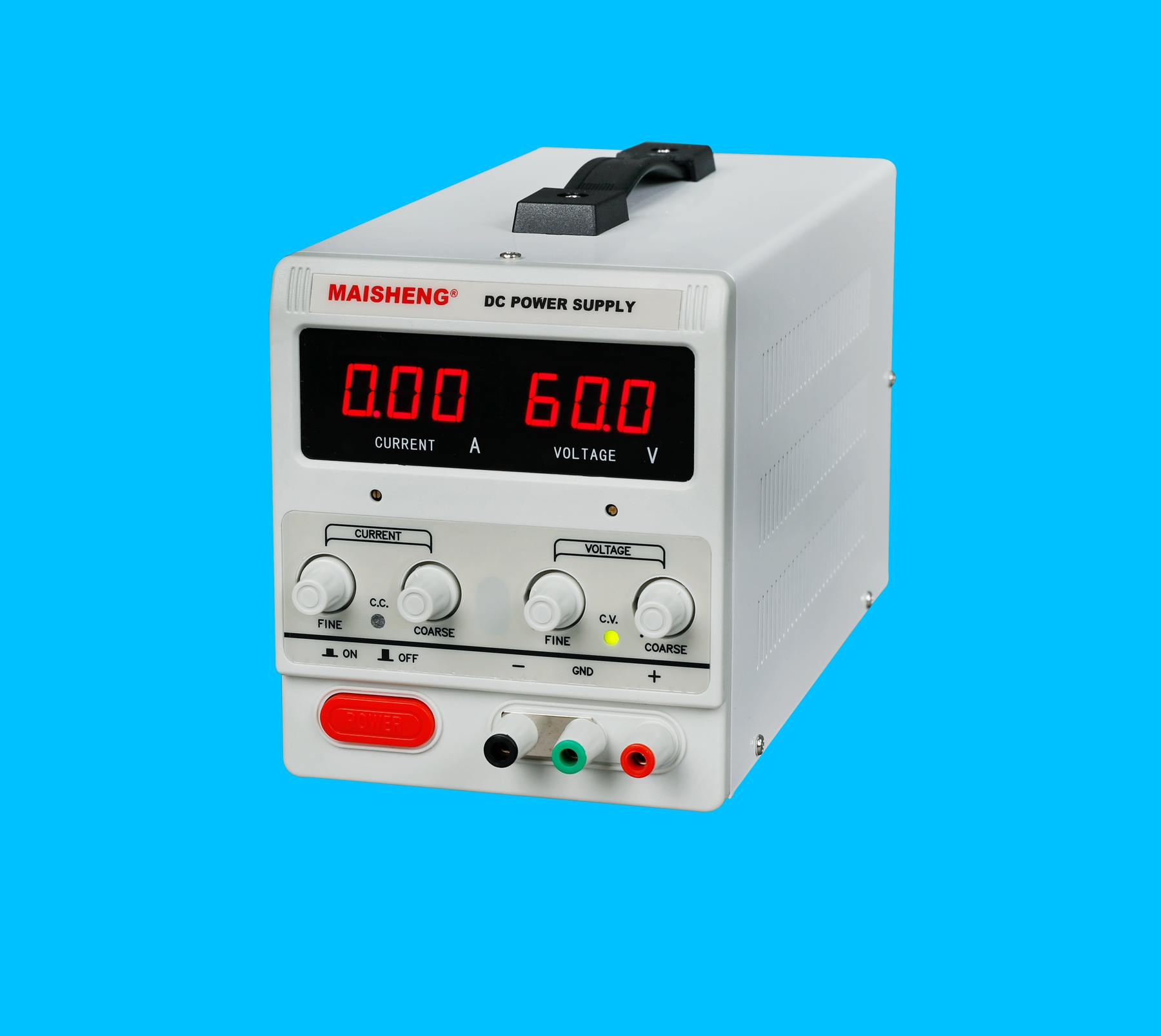 型号:MS1001D:0-100V/0-1A 产品特点: 1. 加厚钢板机箱,美观大方,坚固耐用。提手设计,方便搬运。 2. 电压、电流均采用粗调和细调设计,精确调整输出电流、电压值。 3. 恒压、恒流自动转换,即可当恒压源使用,亦可当恒流源使用。 4. 保护功能完善:过压保护(OVP),短路保护(OCP),过温保护(OTP)。 5.