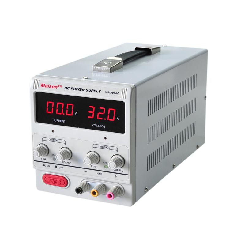 型号:MS3010D:0-30V/0-10A 产品特点: 1. 加厚钢板机箱,美观大方,坚固耐用。提手设计,方便搬运。 2. 电压、电流均采用粗调和细调设计,精确调整输出电流、电压值。 3. 恒压、恒流自动转换,即可当恒压源使用,亦可当恒流源使用。 4. 保护功能完善:过压保护(OVP),短路保护(OCP),过温保护(OTP)。 5.